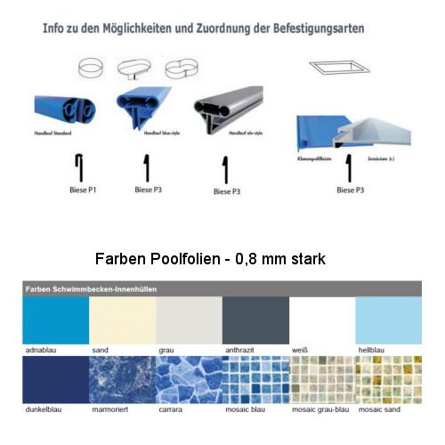 Poolfolie f r rechteckbecken ersatzfolie in becken for Poolfolie blau