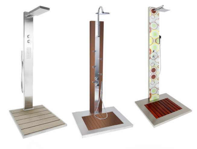 Dusche Aus Glas Oder Kunststoff : Dusche f?r Pool und Garten aus Edelstahl im Design mit Glas und Holz