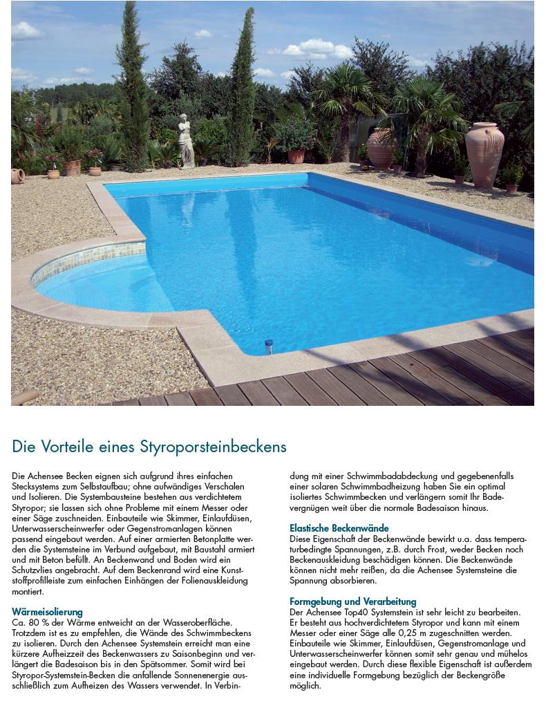 styropor pool als schwimmbecken komplett set mit allem zubeh r. Black Bedroom Furniture Sets. Home Design Ideas