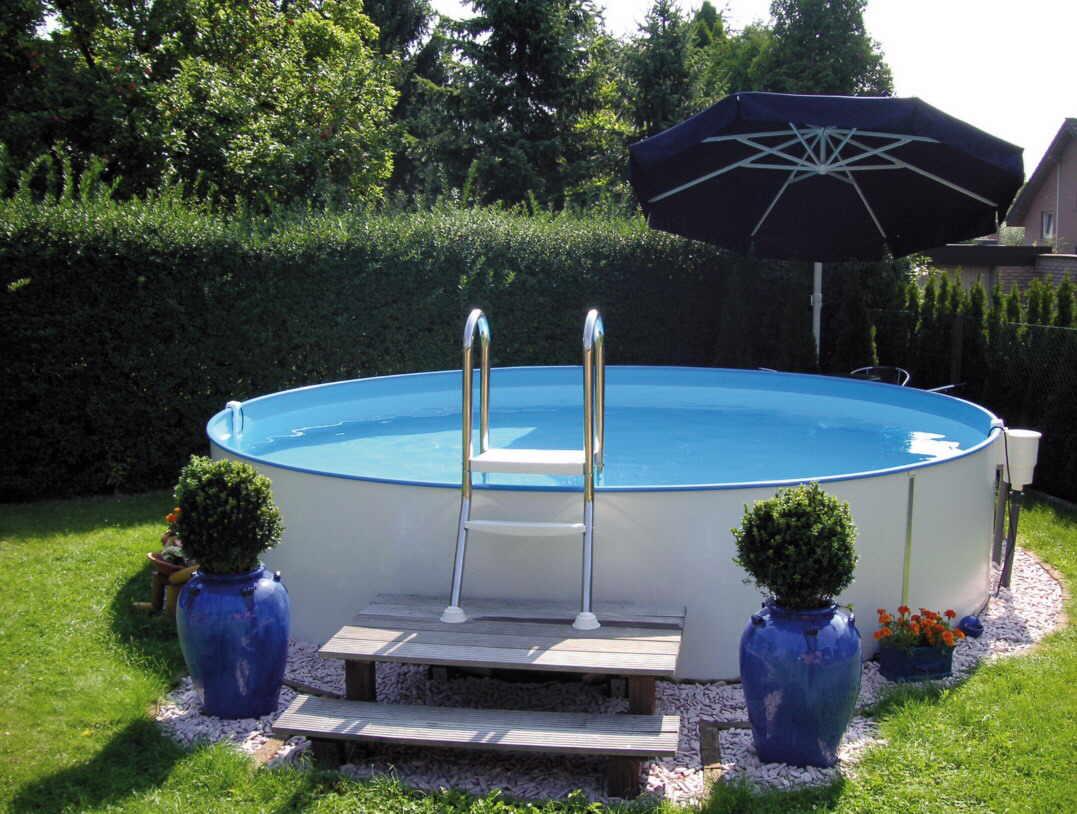 rund pool als stahlmantel schwimmbecken set mit technik und zubeh r. Black Bedroom Furniture Sets. Home Design Ideas