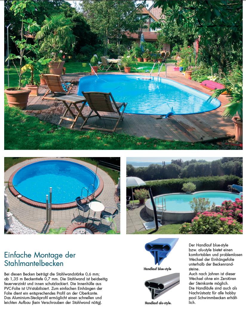 Schwimmbecken set als achtform stahlmantel pool mit for Poolfolien hersteller