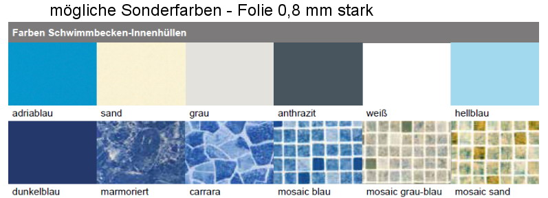 Pool ersatz folie f r stahlmantel rundbecken 1 20 m tief for Poolfolie blau