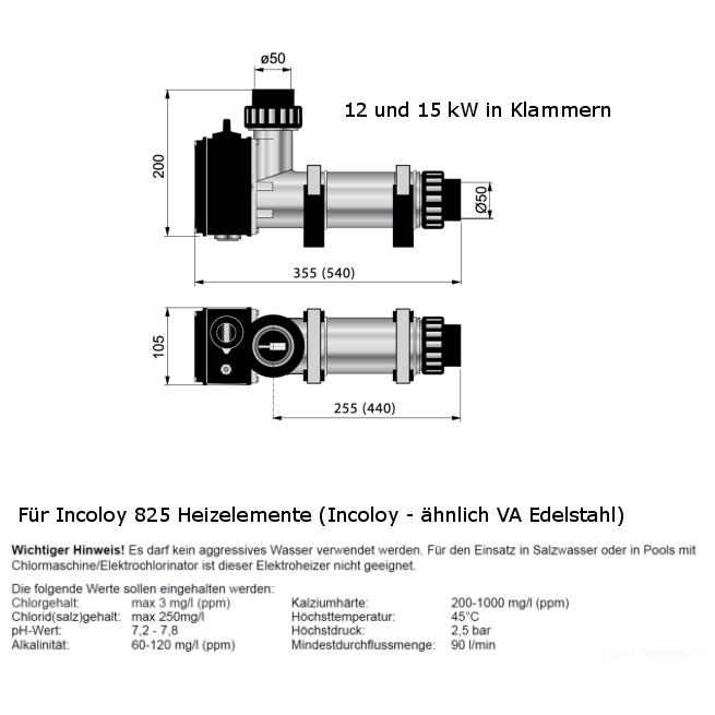 Pool-Elektroheizer aus Kunsstoff, Heizelement Edelstahl oder Titan