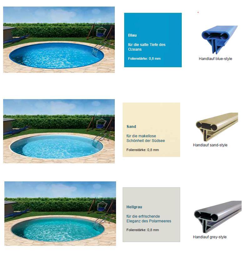 Poolfolie sand oder blau schwimmbad und saunen for Poolfolie blau