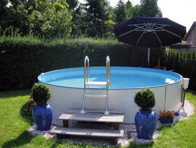 Kinder stahlmantel schwimmbecken pool set mit filter for Folienfarbe pool