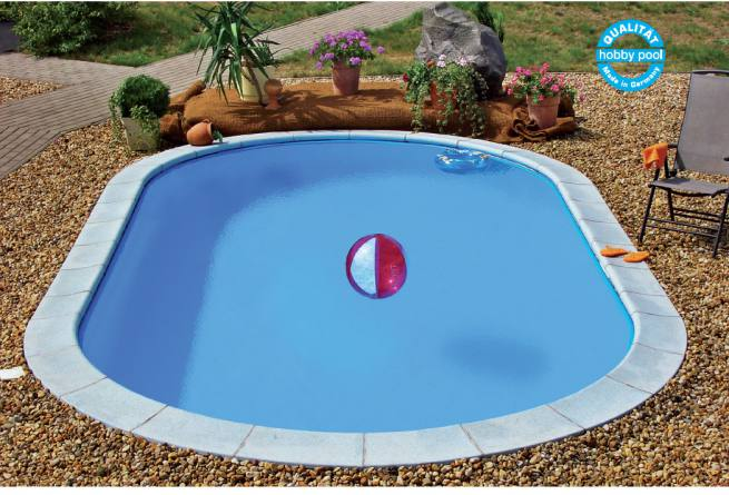Pool-Set Stahlmantel Ovalformbecken - Folie 0,6 mm - Farbe adriablau
