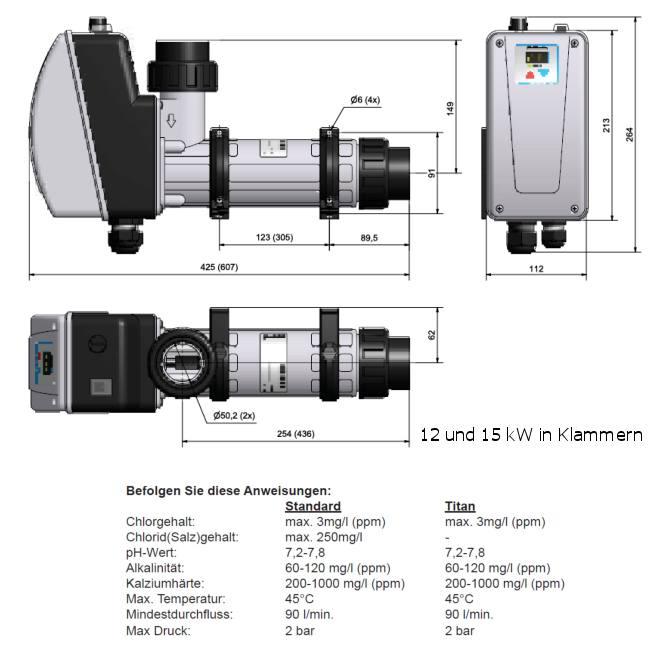 Pool Elektroheizer Digital, Heizelement Edelstahl oder Titan