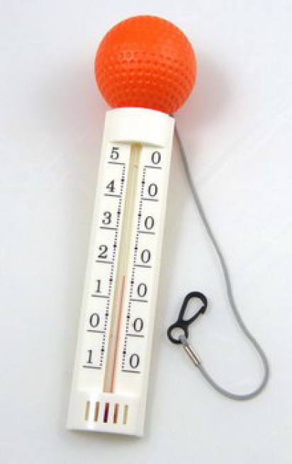 schwimmbad pool thermometer lang rote kugel